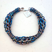 Anodised Titanium Chainmaille Bracelet. Handmade. Made To Order.