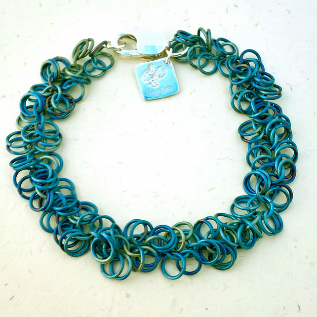Anodised Titanium Chainmaille Bracelet. Seaside Jewellery, Made To Order