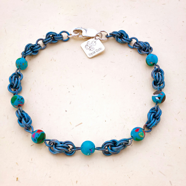 Seaside inspired casillica beads titanium bracelet handmade by Crystal Clarke