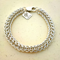 Silver Bracelet, Chain Mail, Bridal Jewellery, Anniversary Gift, Made To Order