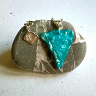 Wool textile resin pendant in a teal turquoise colour mix