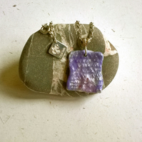 Wool textile resin pendant in a lavender purple colour mix