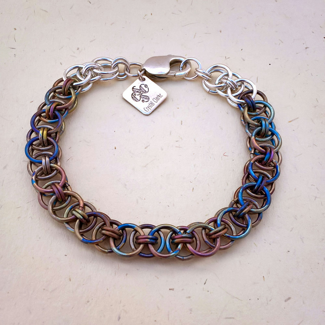 Ready to ship helm titanium and sterling silver chainmaille bracelet