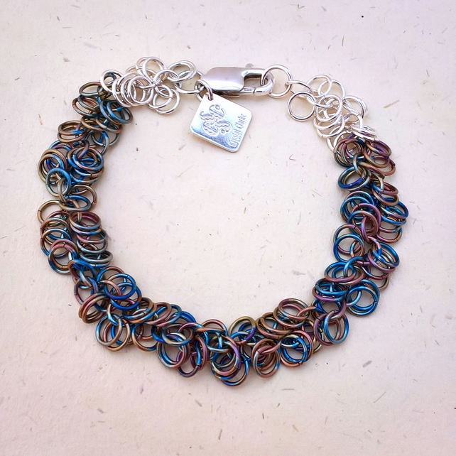 Shaggy loops by Crystal Clarke - titanium and sterling silver bracelet