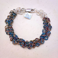Ready to ship shaggy loops titanium and sterling silver chainmaille bracelet