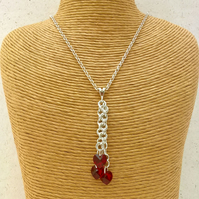 January birthstone garnet heart necklace in sterling silver - Made to order
