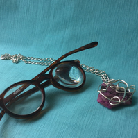 Mauve Unusually Shaped and Wire Wrapped Pendant