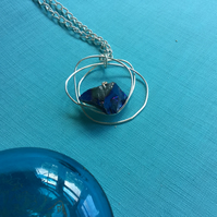 Christmas Gift Silver Wire Wrapped AB Blue Quartz Pendant