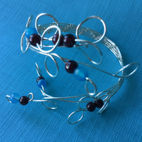 Christmas Gift Silver Plated ans Semiprecious Bubbles Twist Bracelet