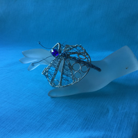 Christmas Gift Art Nouveau Style Silver and Blue Bangle