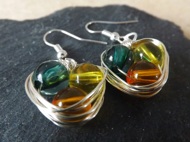 Yellow, Amber and Green Nest Style Beaded Earrings