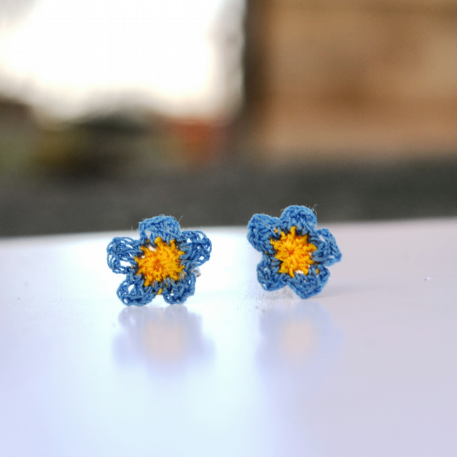 Hand crocheted Forget-Me-Not earrings
