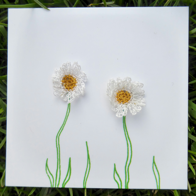 Hand crocheted Daisy earrings