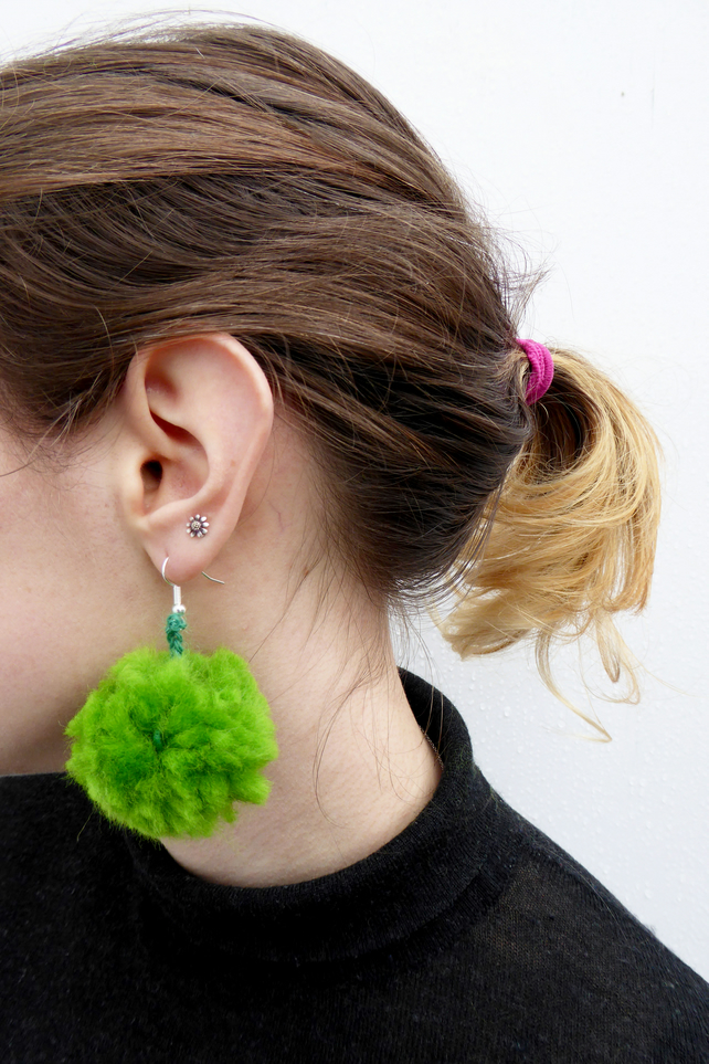 Woolly Green Pom Pom Earrings