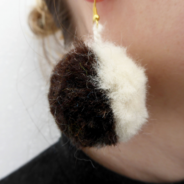 Natural Black and White Pom Pom Earrings