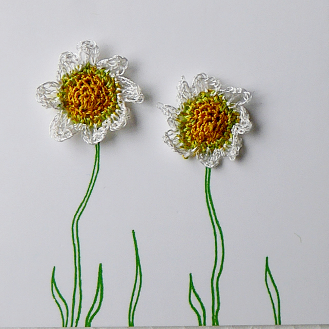 Hand crocheted Chamomile earrings