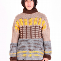 'Autumn Reflections' Hand-Made British Alpaca Jumper (Unisex)