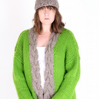 Grass Green Hand-Knitted Chunky Cable Cardie