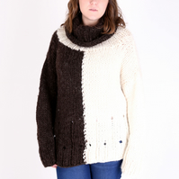 Natural B&W Hand-Knitted British Wool Jumper