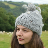 Natural Grey Curly Wurly Hat