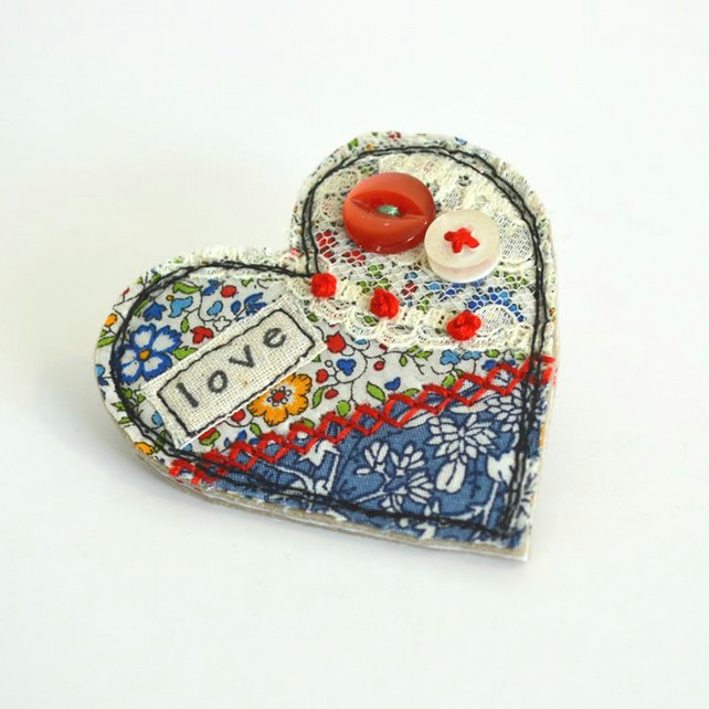 BROOCH heart shaped blue textile brooch, badge decorated with embroidery, love