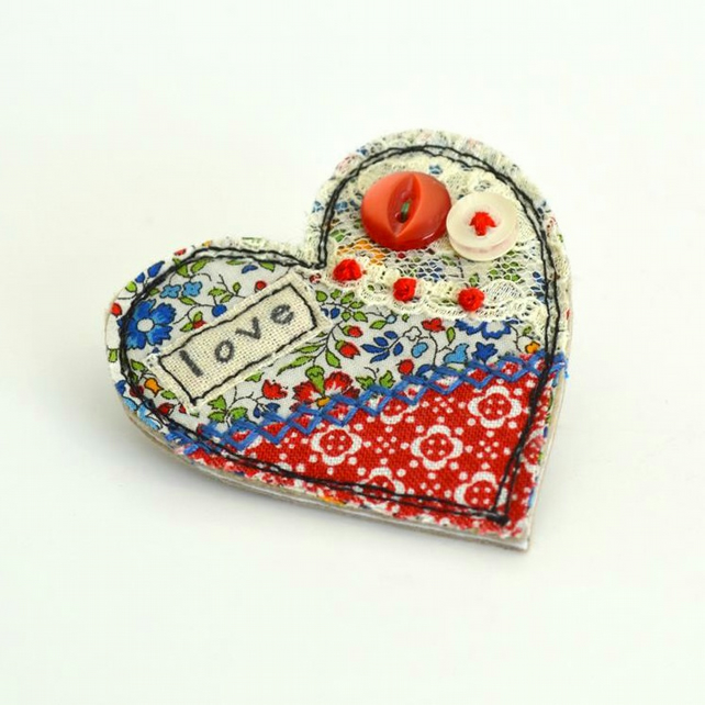 BROOCH red heart shaped textile brooch decorated with embroidery, heart badge