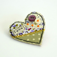 BROOCH heart shaped textile brooch purple, green with embroidery, lace , love