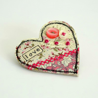 Pink Heart shaped fabric BROOCH, heart badge decorated with embroidery