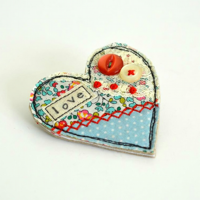 Turquoise heart fabric brooch decorated with embroidery, lace , love, heart pin