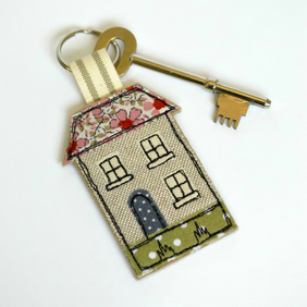 House key ring, pink fabric house shaped keyring, house key fob, house keyring