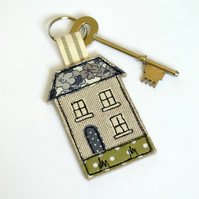 House key ring, blue textile house shaped keyring, house key fob, house key-ring