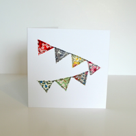 Embroidered greetings card with stitched fabric bunting