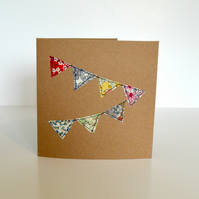 Bunting card, Blank greetings card with pretty embroidered fabric bunting