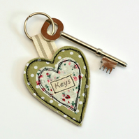 Green heart shaped keyring, Heart key fob, Housewarming, New home gift, key ring