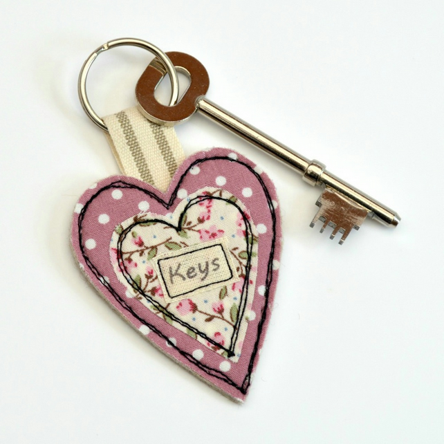 Pink fabric heart key ring, Heart shaped keyring, House warming gift, Key fob