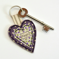 Purple heart key ring, Heart shaped keyring, New home key-ring,