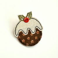 Christmas Pudding embroidered textile brooch, badge