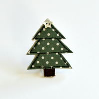 Brooch Handmade Christmas Tree embroidered textile brooch, badge, pin