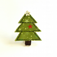 Christmas Tree badge, embroidered Christmas tree fabric brooch, pin