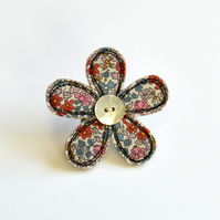 Blue and red Liberty print fabric flower brooch, embroidered flower badge