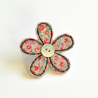 Pink and green fabric flower brooch,  flower pin, embroidered  flower badge