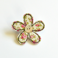 Pink and cream fabric flower brooch,  flower pin, embroidered  flower badge