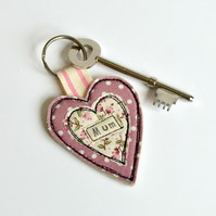 Mum key ring, pink heart keyring, Personalised heart, Mum Key fob, Mothers Day