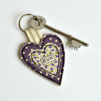 Mum heart key-ring, purple heart keyring, Personalised heart, Mother's Day gift