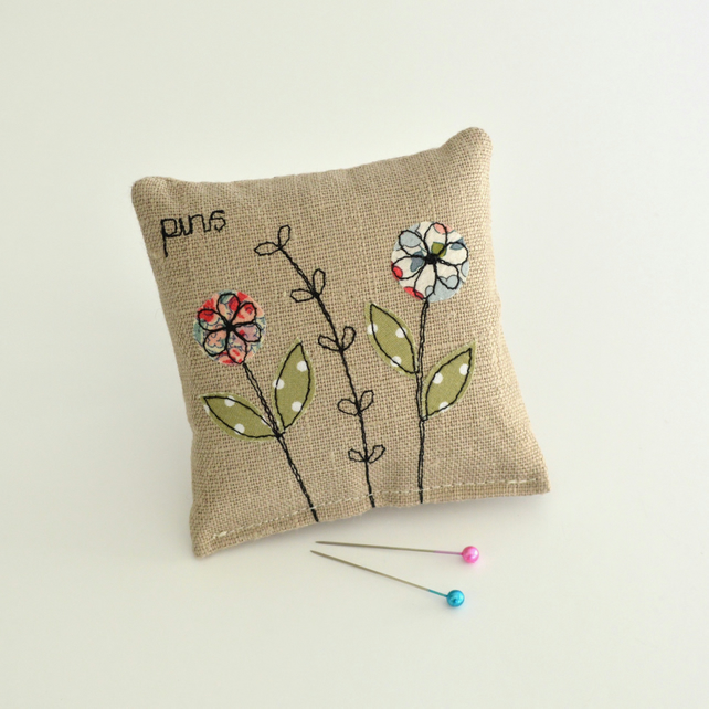PINCUSHION. Linen pincushion, Needle holder, Pin holder, Embroidered flowers