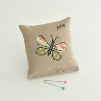 PINCUSHION. Pin holder, Needle holder with an embroidered green butterfly