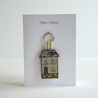 New Home Card with a house keyring attached, new home gift, moving house card.