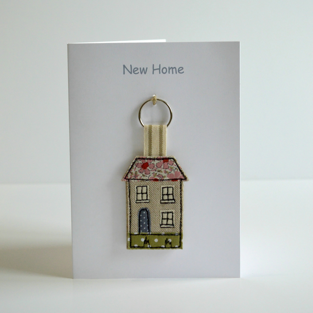 New Home Card with a fabric house shaped keyring, new home gift.