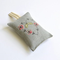 Grey linen embroidered heart Lavender bag, Lavender sachet, Lavender scented bag