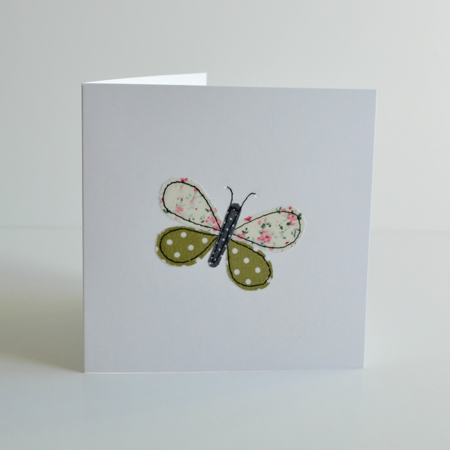 Stitched fabric applique green butterfly greetings card